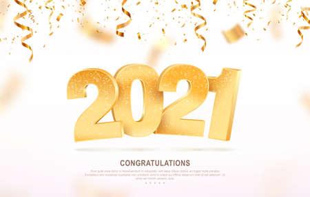 Happy new year 2021 celebrating vector illustration. Xmas holiday background with falling confetti