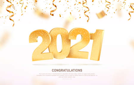 Happy new year 2021 celebrating vector illustration. Xmas holiday background with falling confetti