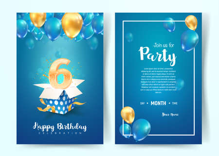 Celebration of 6 th years birthday vector invitation cards. Six years anniversary celebration. Print templates of invitational on blue background 矢量图像