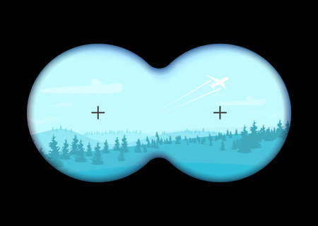 View through binoculars on a flat cartoon landscape. Vector illustration 矢量图像