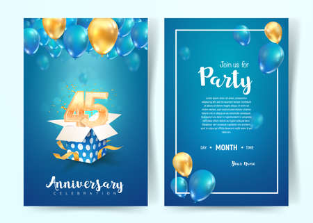 Celebration of 45th years birthday vector invitation card. forty five years anniversary celebration brochure. Template of invitational for print on blue background