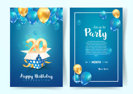 Celebration of 20th years birthday vector invitation card. Twenty years anniversary celebration brochure. Template of invitational for print on blue background