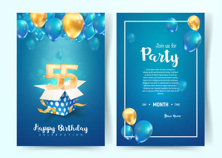 Celebration of 55th years birthday vector invitation card. Fifty five years anniversary celebration brochure. Template of invitational for print on blue background Illustration