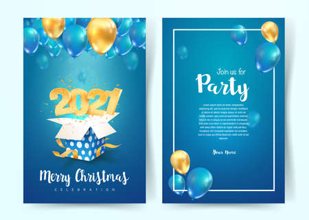 2021 Happy New Year vector invitation card. Merry Christmas celebration brochure. Template Xmas celebrate A4 card on blue background for print on blue background Illustration
