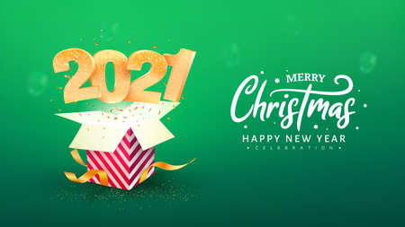 2021 Happy New Year vector illustration. Xmas celebrate green background. Merry Christmas celebration. Golden numbers fly out red gift box