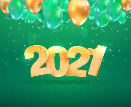 2021 golden number Happy New Year celebration on green background with balloons. Merry Christmas celebrate vector illustration