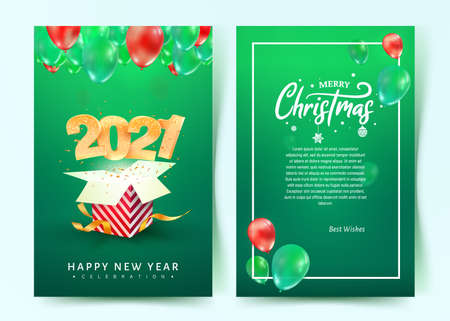 2021 Happy New Year vector invitation card. Merry Christmas celebration brochure. Template Xmas celebrate card on blue background for print on green background