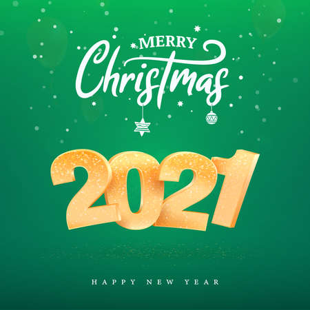 2021 golden number Happy New Year celebration on green background. Merry Christmas celebrate vector illustration