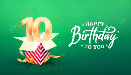 10 years anniversary vector banner template. Ten years jubilee with paper box on a green background.