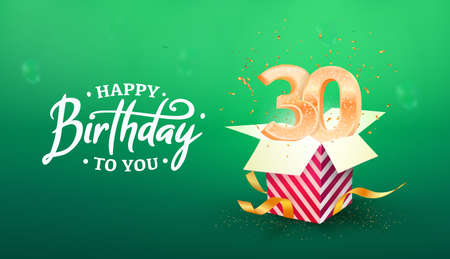 30 years anniversary vector banner template. Thirty years jubilee years with paper box on a green background.
