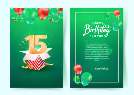 Celebration of 15th years birthday vector invitation card. Fifteen years anniversary celebration brochure. Template of invitational for print on green background 矢量图像