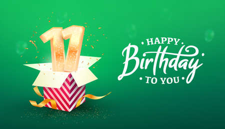 11 years anniversary vector banner template. Eleven years jubilee with paper box on a green background.