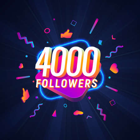 4000 followers celebration in social media vector web banner on dark background. Four thousand follows 3d Isolated design elements