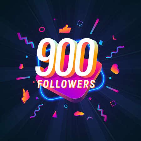 900 followers celebration in social media vector web banner on dark background. Nine hundred follows 3d Isolated design elements Иллюстрация