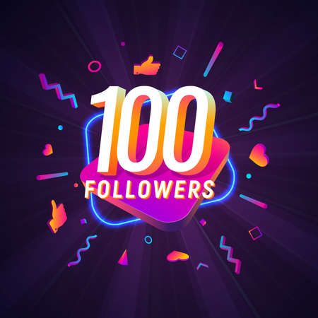 100 followers celebration in social media vector web banner on dark background. One hundred follows 3d Isolated design elements