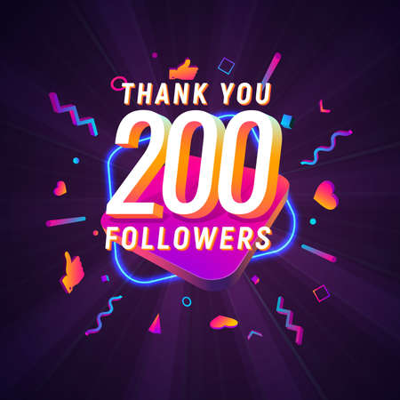 200 followers celebration in social media vector web banner on dark background. Two hundred follows 3d Isolated design elements