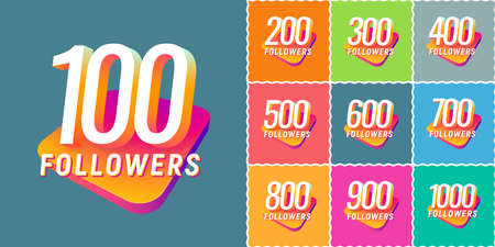 Set of numbers for followers vector illustration. Collections of icons with numbers for Celebrate of followers isolated design elements on different colors background