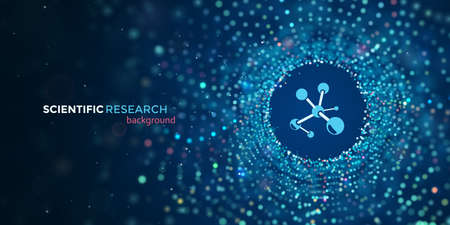 Scientific medical research vector web banner. Science abstract blue background with motion blur particles