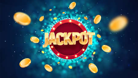 Jackpot golden text on retro red board vector banner. Winning vector illustration. Win congratulations illustration for casino or online games. Explosion coins on dark blue background