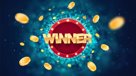 Winner gold text on retro red board vector banner. Win congratulations in frame illustration for casino or online games. Explosion coins on dark blue background with blur motion effect Ilustrace