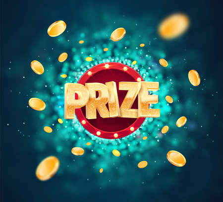 Win prize in gambling game on blurred background vector banner. Winning money congratulations illustration for casino or online games. Gamble advertising template.