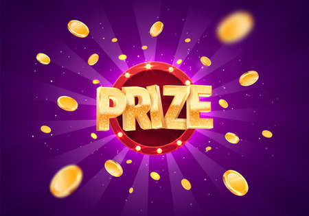 Win prize gold text on retro background vector banner. Winning money congratulations illustration for casino or online games. Gambling game advertising template.