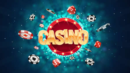Gambling casino online leisure games vector illustration. Win in gamble game. Chips and dice exploding on dark blurred background