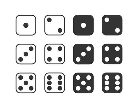 Set of monochrome dices. Vector isolated dice icons Ilustrace