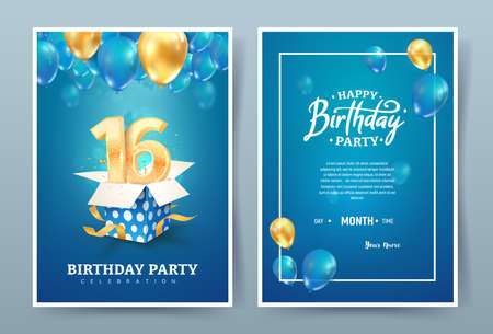 16th years birthday vector invitation double card. Sixteen years anniversary celebration brochure. Template of invitational for print on blue background Ilustrace