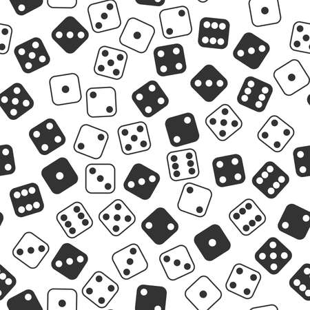Leisure Dices gamble gaming monochrome vector seamless pattern