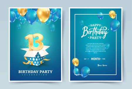 13th years birthday vector invitation double card. Thirteen years anniversary celebration brochure. Template of invitational for print on blue background