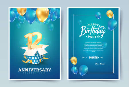 12th years birthday vector invitation double card. Twelve years anniversary celebration brochure. Template of invitational for print on blue background