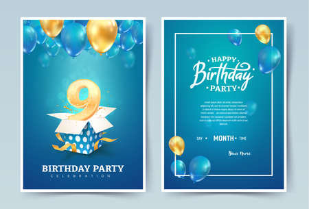 9th years birthday vector invitation double card. Nine years anniversary celebration brochure. Template of invitational for print on blue background