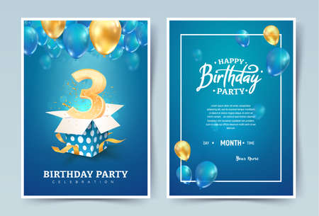 3rd years birthday vector invitation card. Three years anniversary celebration brochure. Template of invitational for print on blue background