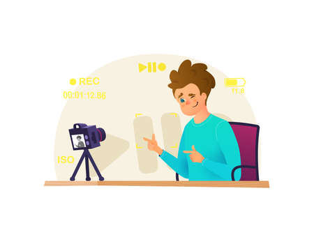 Blogger make interview, recording video on his camera, doing live stream, broadcasts vector illustration. Vlogger vector cartoon character