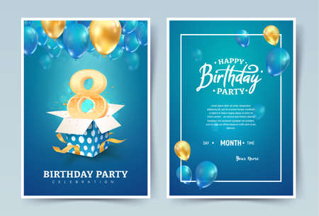 8th years birthday vector invitation double card. Eight years anniversary celebration brochure. Template of invitational for print on blue background