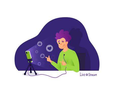 The blogger makes a live stream, broadcasts and receives likes and thumbs. Blogger vector cartoon character. Young vlogger make interview, recording video on his phone.