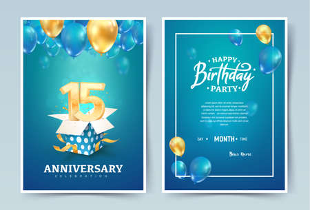 15th years birthday vector invitation double card. Fifteen years anniversary celebration brochure. Template of invitational for print on blue background