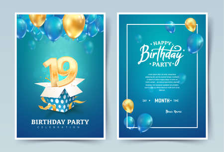 19th years birthday vector invitation double card. Nineteen years anniversary celebration brochure. Template of invitational for print on blue background