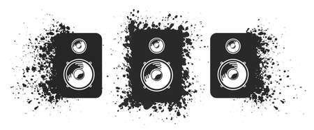 Vector loudspeakers set. Collection of black sound speakers explosion particles effect on white background Ilustrace