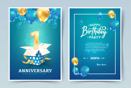 1th years birthday vector invitation double card. One years anniversary celebration brochure. Template of invitational for print on blue background Ilustrace
