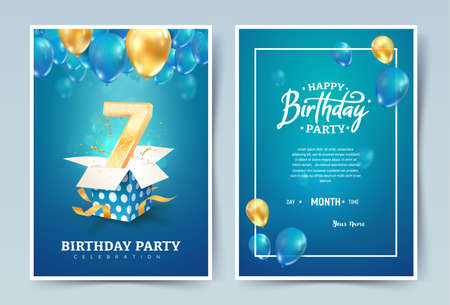 7th years birthday vector invitation double card. Seven years anniversary celebration brochure. Template of invitational for print on blue background Ilustrace