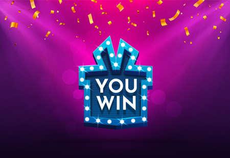 Celebrate win gift box retro board broadway sign. Winning celebration vector illustration. Vektorgrafik