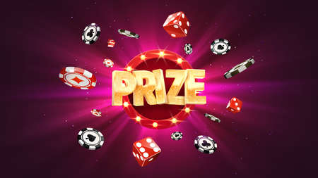 Win prize in gambling game purple background vector banner. Winning money congratulations illustration for casino or online games.Chips and dice explosion