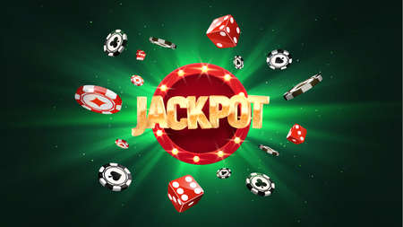 Win jackpot online casino leisure games vector illustration. Winning in gamble game. Chips and dice falling on green sun burst background Ilustrace