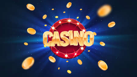 Gambling casino online leisure games vector illustration. Win in gamble game. Coins exploding on blue burst background