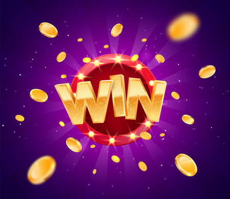 Celebration win gold text on retro red board vector banner. Win congratulations in frame illustration for casino or online games. Explosion coins on purple background.