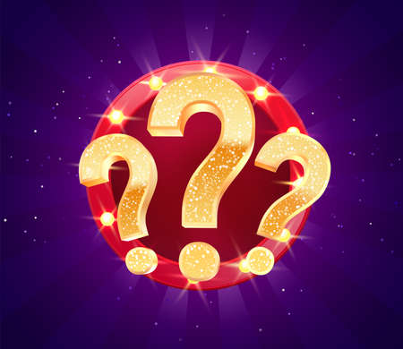 Winning gifts in lottery. Grand drawing. Mystery gift question marks on retro illuminated board vector illustration