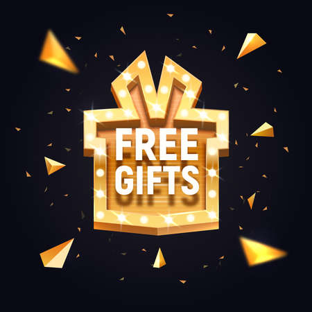 Free gifts isolated vector banner. Gift box retro illuminated board broadway on dark background. Advertising design element