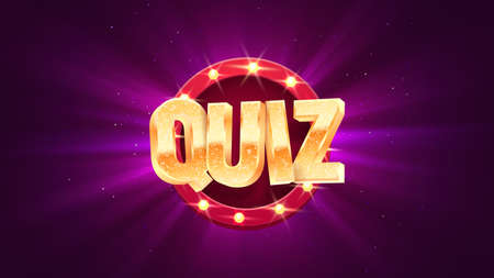 Quiz golden text on retro illuminated board vector banner. Trivia night isolated design elements